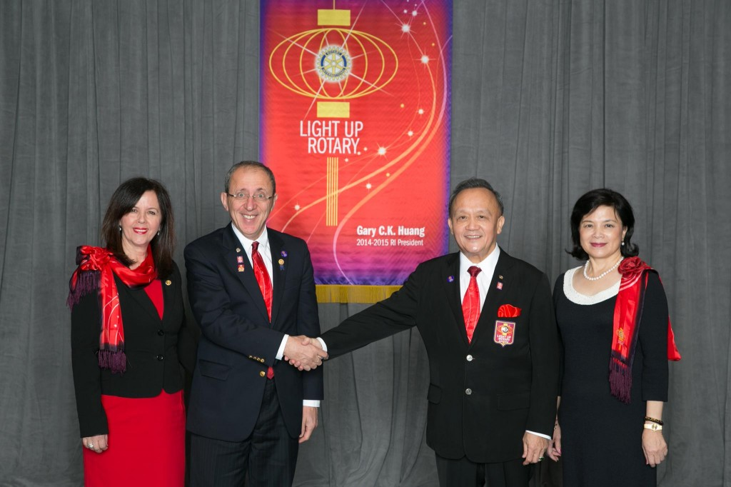 DG Ruzhdi Bakalli and his wife Afijete, pictured with Rotary International President Gary C. K. Huang and his wife Corinna at  International Assembly in San Diego,  California, on January 17th , 2014.