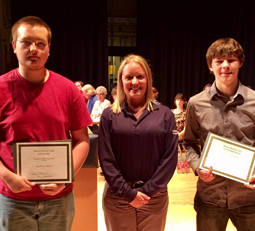 Left to Right – Zachary Nugent, Rotarian Amanda Ongley, Evan Hunter
